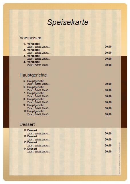 Speisekarte selber erstellen – Vorlage kostenlos