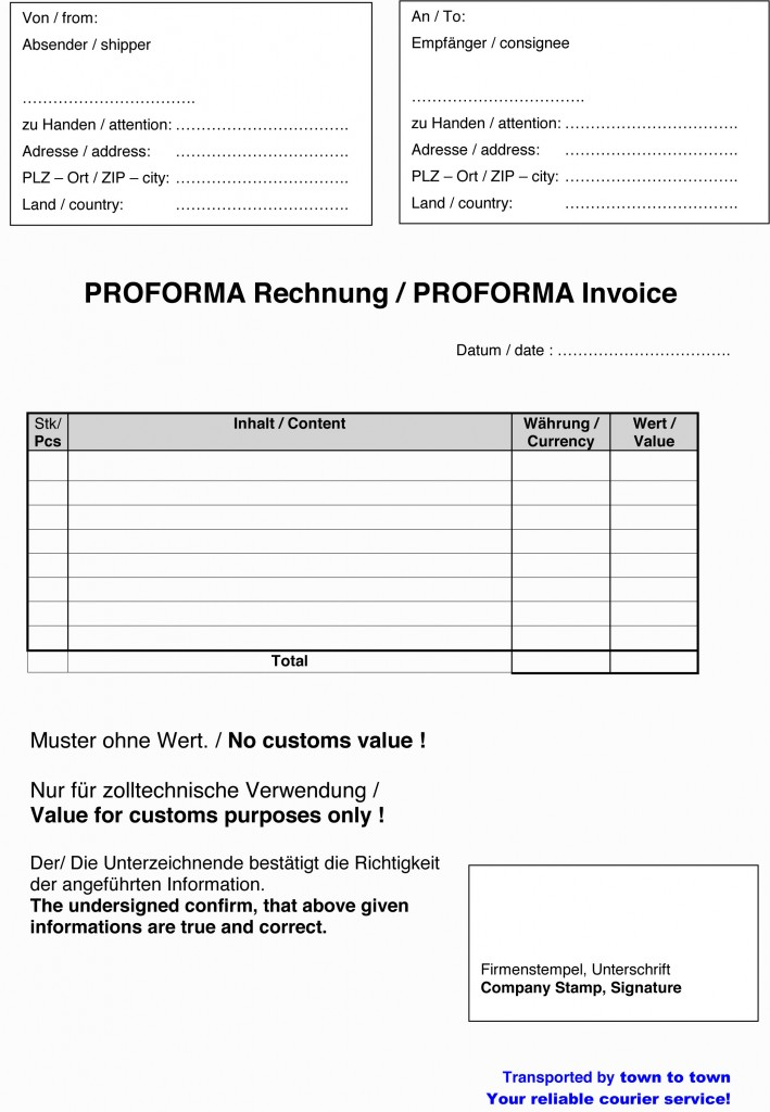 Vorlage Proformarechnung Download Kostenlos