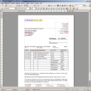 Rechnungsvordruck für OpenOffice Writer