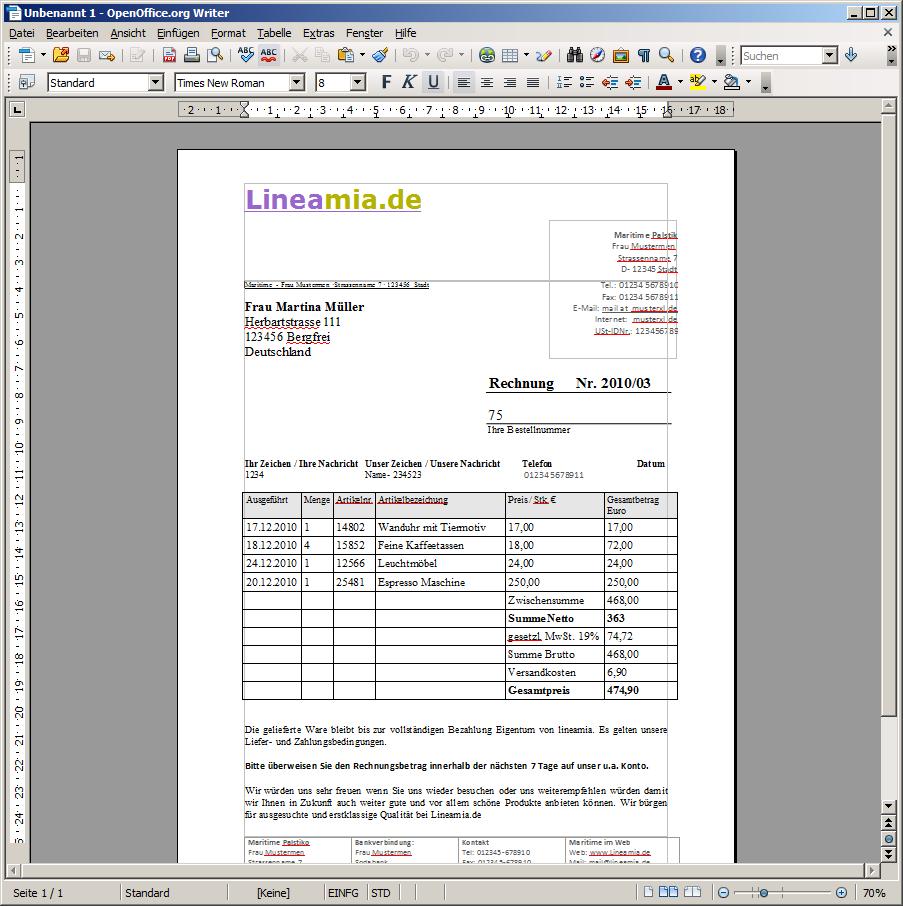 Rechnungsvorlage Für Openoffice Gratis Zum Download