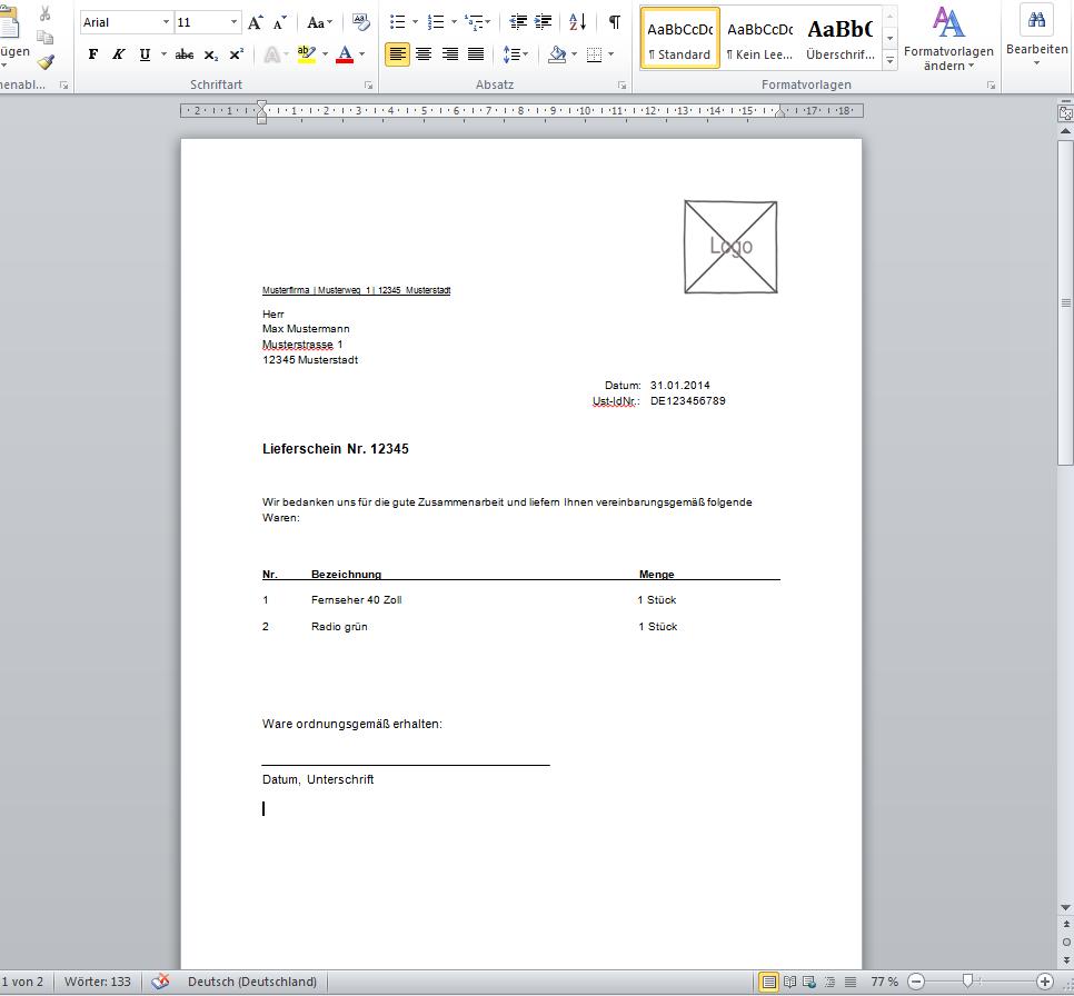 Lieferschein Vorlage für Office/Word – kostenlos