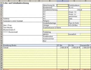Vorlage im Excel Format für eine Lohn- und Gehaltsabrechnung
