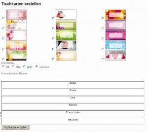 Kostenlose Tischkartenvorlagen online erstellen