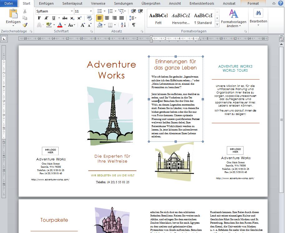 Word Broschuere Designbeispiel